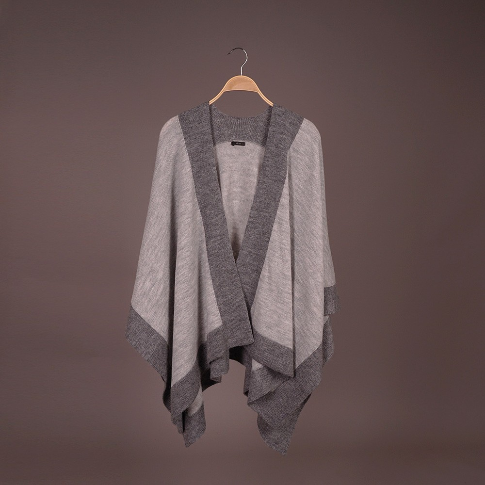 Zarina wool poncho gray