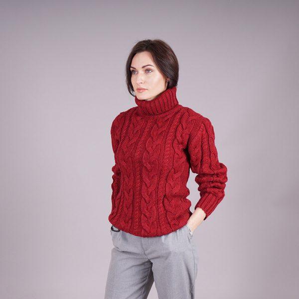 Bruce high-neck wool blend burgundy sweater