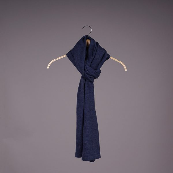 Stella large wool knit dark blue scarf