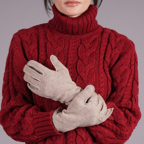 Adelina wool blend beige gloves