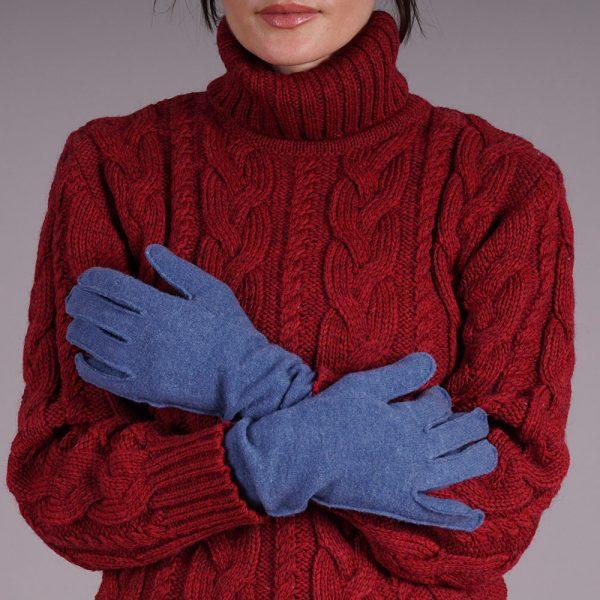 Adelina wool blend blue gloves
