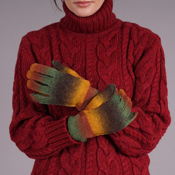 Adelina unisex wool blend gloves brown-green