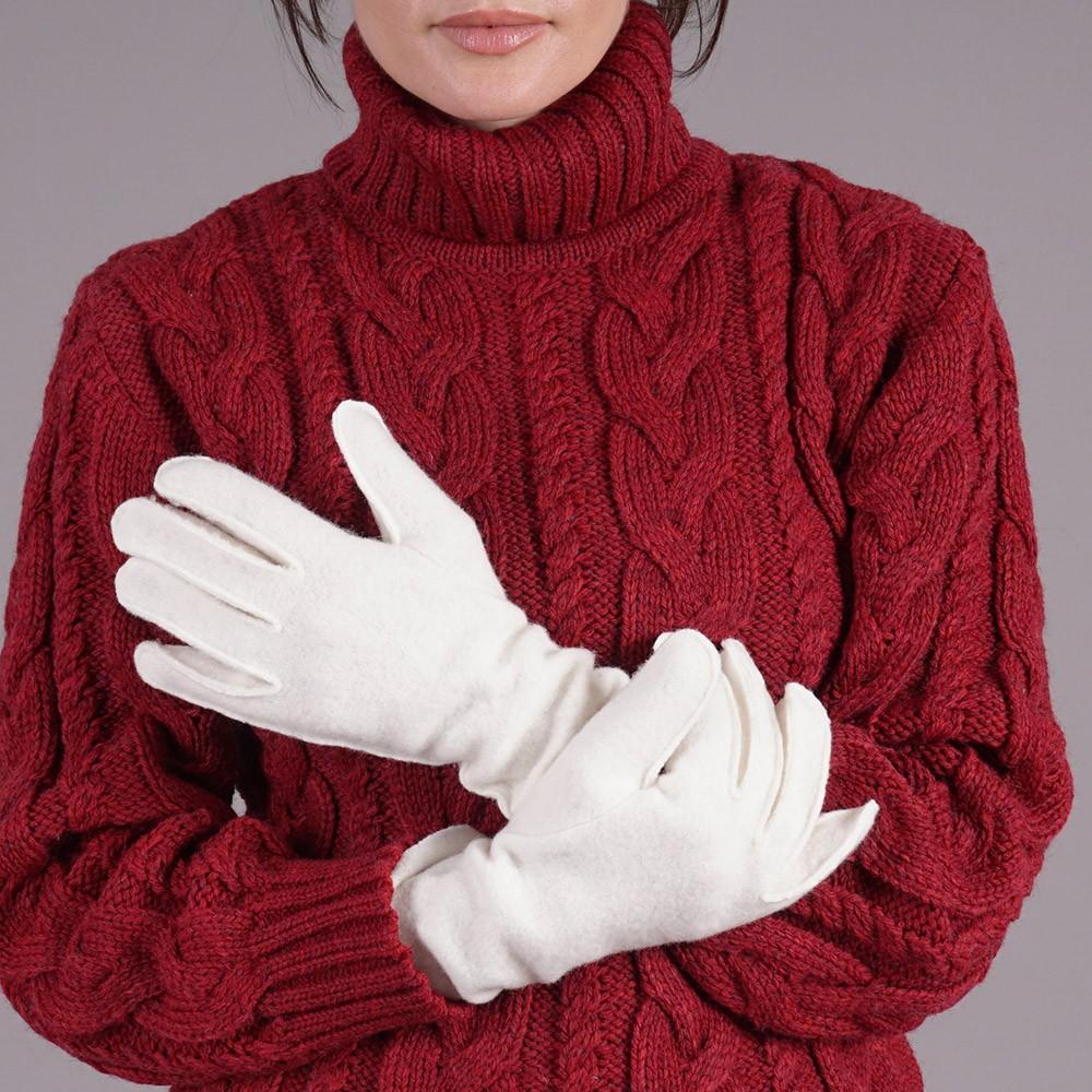 Adelina wool blend cream gloves