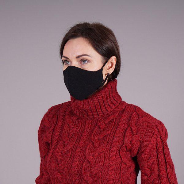 Black knitted reusable mask