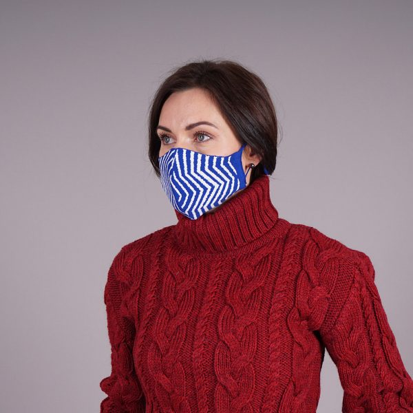 Blue striped knitted reusable mask