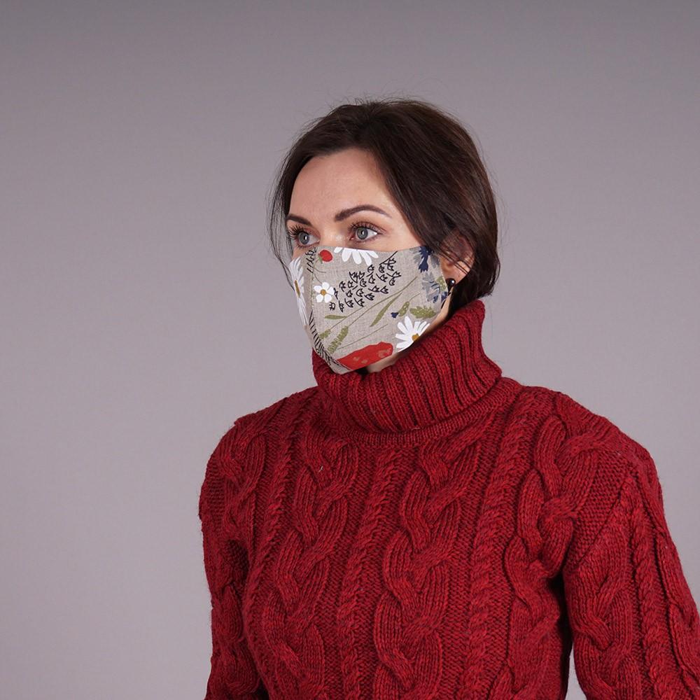 Pure linen reusable face mask flowers print natural gray