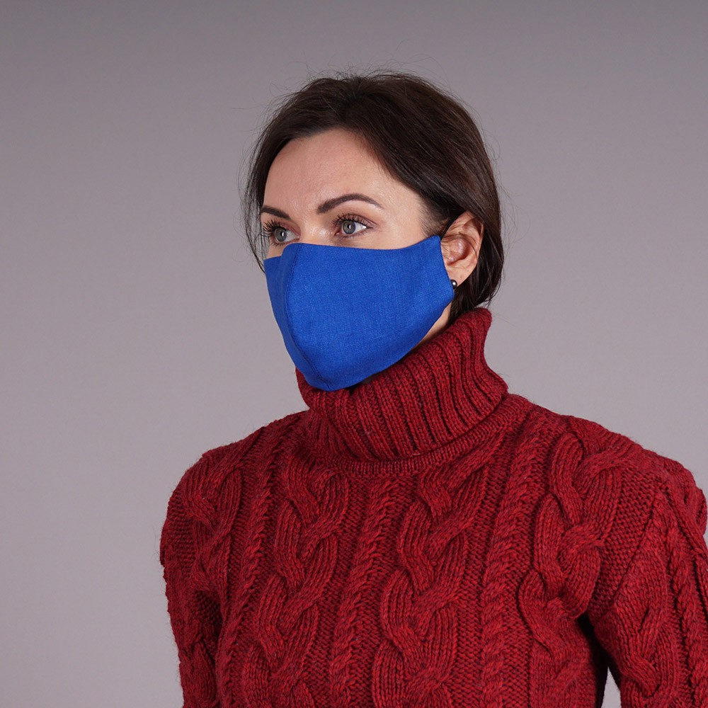 Pure linen royal blue reusable face mask
