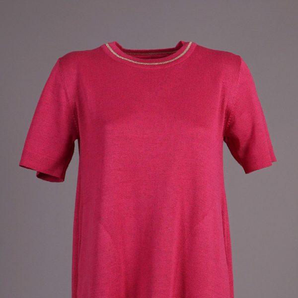 Magda knitted short sleeve dress fuxia
